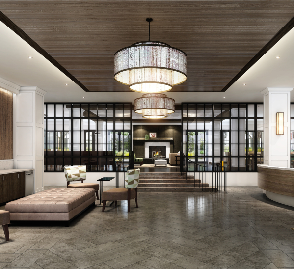 The lobby feels like a 5-star hotel, while the clubroom is urban industrial-chic. Image 1