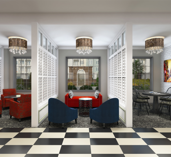 The shared clubroom is a fresh version of New Orleans and Charleston style.   Image 1