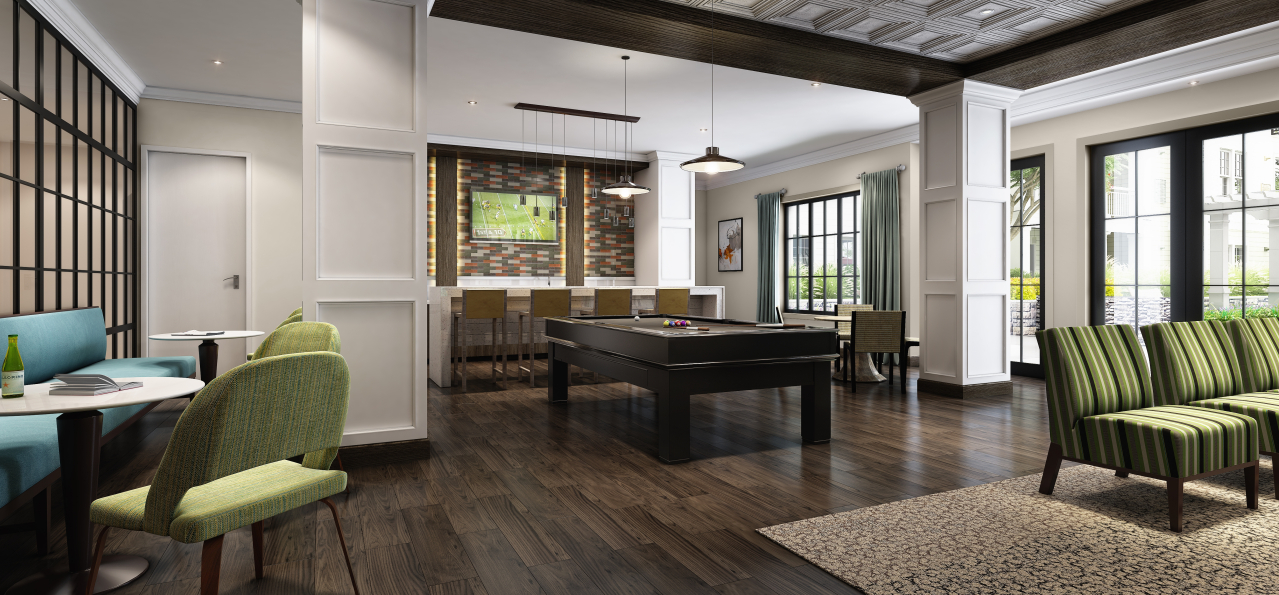 The clubroom sports an Americana aesthetic with a Newport accent.