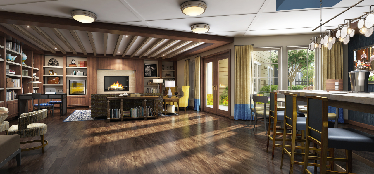 The clubroom offers the welcoming feel of a cozy, modern library.